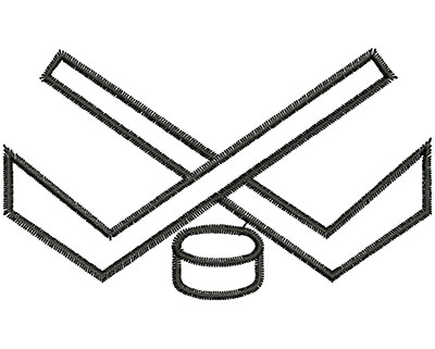 Embroidery Design: Crossed Hockey Sticks 3.58w X 2.11h