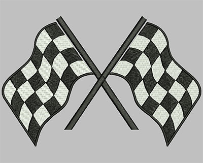 Embroidery Design: Crossed Racing Flags 7.48w X 4.88h