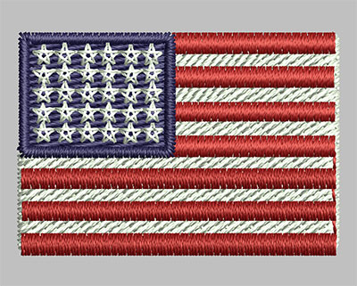 Embroidery Design: American Flag 1.39w X 0.96h