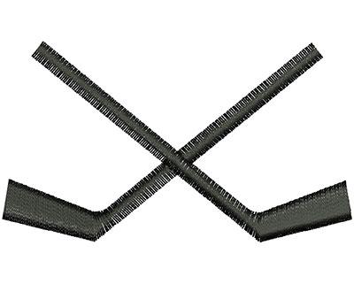 Embroidery Design: Hockey Sticks Crossed 3.12w X 1.80h