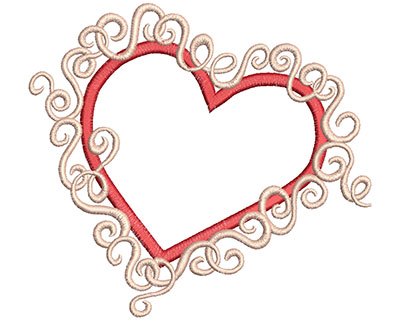 Embroidery Design: Heart with Swirls 6.30w X 5.79h