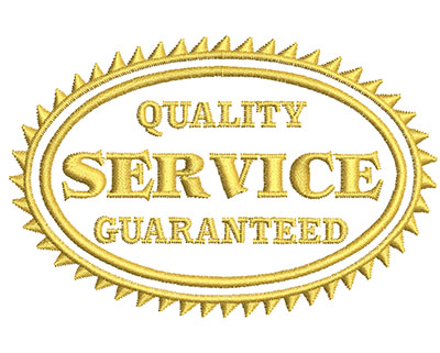 Embroidery Design: Quality Service Guaranteed 3.98w X 2.62h