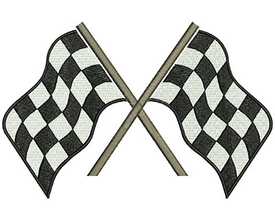 Embroidery Design: Racing Flags Crossed 7.48w X 4.88h