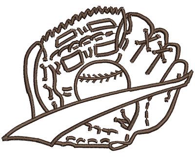 Embroidery Design: Baseball in Glove 4.00w X 3.02h
