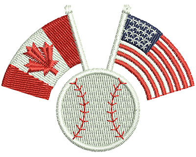 Embroidery Design: US Canadian Baseball 2.30w X 1.76h