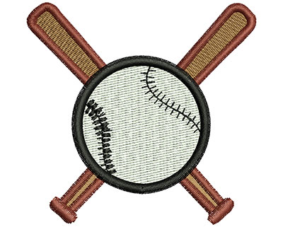 Embroidery Design: Baseball and Bats 2.69w X 2.60h