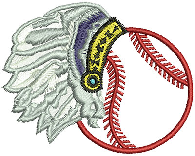 Embroidery Design: Baseball with Indian Feather Headset 2.76w X 2.20h