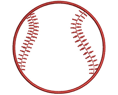 Embroidery Design: Baseball Outline  3.40w X 3.39h