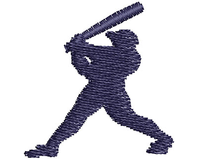 Embroidery Design: Baseball Player Batting Outline 1.24w X 1.29h