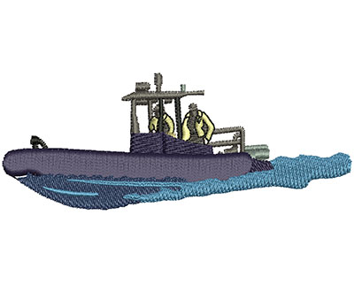 Embroidery Design: Boat on the Water 3.76w X 1.47h