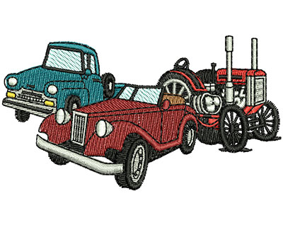 Embroidery Design: Truck, Convertible, Tractor 3.50w X 1.94h