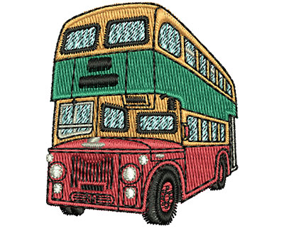 Embroidery Design: Double Decker Bus 1.73w X 2.02h
