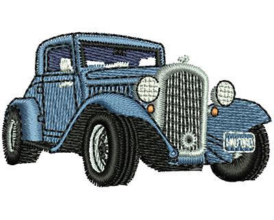 Embroidery Design: Blue Vintage Car 2.02w X 1.16h