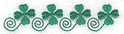 Embroidery Design: Four shamrocks  3.39w X 0.81h