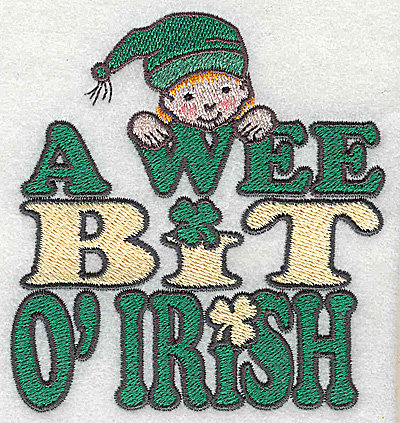 Embroidery Design: A wee bit of Irish with leprechaun small 3.58w X 3.81h