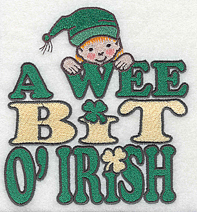 Embroidery Design: A wee bit of Irish with leprechaun large 4.62w X 4.92h