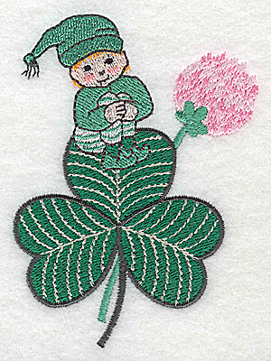 Embroidery Design: Leprechaun on shamrock small 2.78w X 3.86h