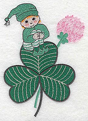Embroidery Design: Leprechaun on shamrock large 3.56w X 4.94h