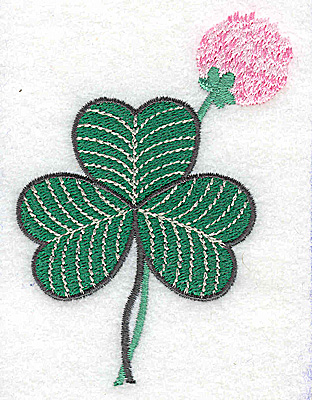 Embroidery Design: Shamrock with clover flower small 2.78w X 3.87h
