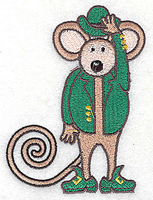 Embroidery Design: St. Patrick's mouse small 2.93w X 3.88h