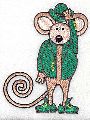 Embroidery Design: St. Patrick's mouse large 3.74w X 4.96h