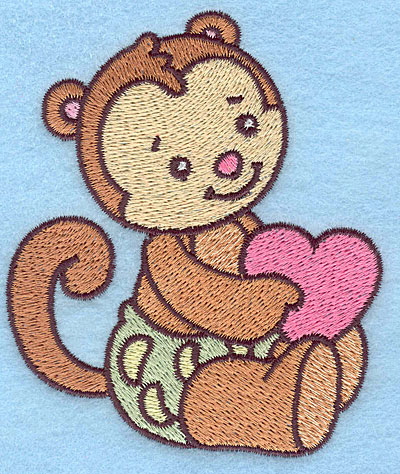 Embroidery Design: Baby Monkey  3.25w X 3.83h