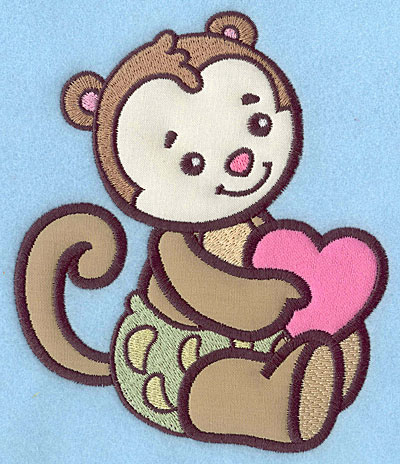Embroidery Design: Baby Monkey applique 5.84w X 4.99h
