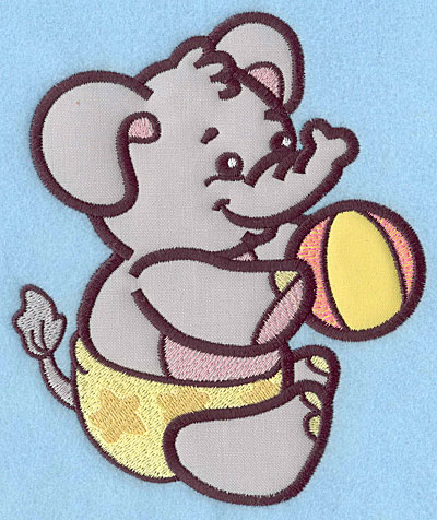 Embroidery Design: Baby Elephant applique 5.96w X 4.99h