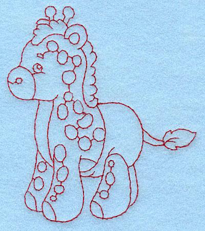 Embroidery Design: Baby Giraffe redwork 3.38w X 3.89h