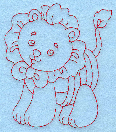 Embroidery Design: Baby Lion redwork 3.33w X 3.87h