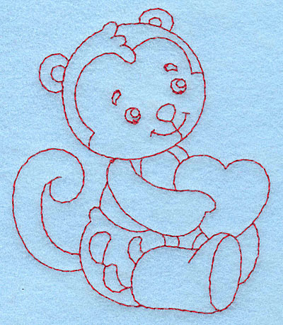 Embroidery Design: Baby Monkey redwork 3.27w X 3.87h
