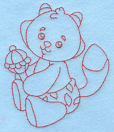 Embroidery Design: Baby Fox redwork 3.28w X 3.88h