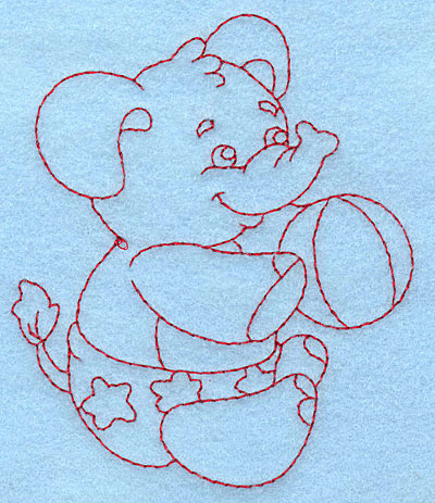Embroidery Design: Baby Elephant redwork 3.27w X 3.87h