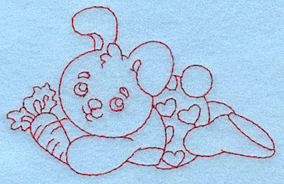 Embroidery Design: Baby Bunny redwork 3.89w X 2.47h