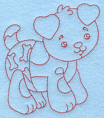 Embroidery Design: Baby Puppy redwork 3.36w X 3.87h