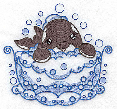 Embroidery Design: Bubble bath dolphin large 4.97w X 4.66h