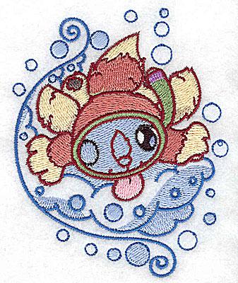 Embroidery Design: Bubble bath squirrel snorkelling small 3.19w X 3.89h