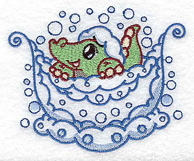 Embroidery Design: Bubble bath alligator small 3.88w X 3.18h