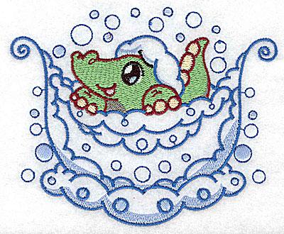 Embroidery Design: Bubble bath alligator large 4.97w X 4.07h