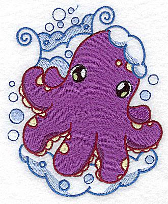 Embroidery Design: Bubble bath octopus large 4.04w X 4.96h