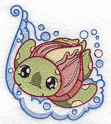 Embroidery Design: Bubble bath turtle small 3.37w X 3.88h