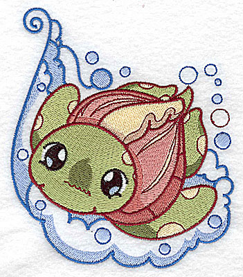 Embroidery Design: Bubble bath turtle large 4.31w X 4.96h