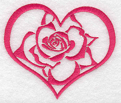 Embroidery Design: Heart with rose medium 3.87w X 3.29h