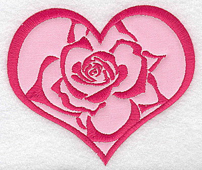Embroidery Design: Heart with rose large applique 4.99w X 4.25h