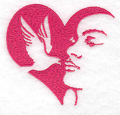 Embroidery Design: Heart dove and woman small 2.96w X 2.75h