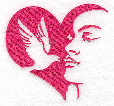 Embroidery Design: Heart dove and woman large 3.86w X 3.59h