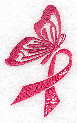 Embroidery Design: Butterfly with breast cancer ribbon medium 2.29w X 3.79h