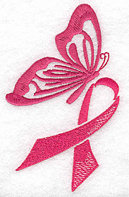 Embroidery Design: Butterfly with breast cancer ribbon large 3.98w X 4.93h