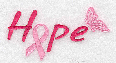 Embroidery Design: Hope with butterfly small 3.34w X 1.84h