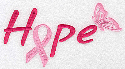 Embroidery Design: Hope with butterfly large 6.96w X 3.85h